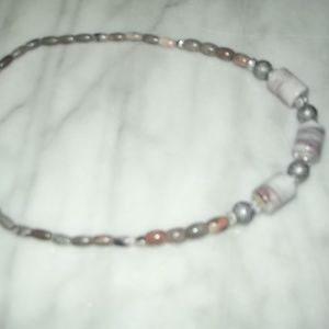 Jewelry Made 4U by Linda Jewelry - Natural Pink Jasper & Marbled Barreled Necklace